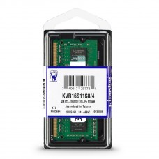 Kingston Memoria Portatil 4GB DDR3, 1600MHz, Non-ECC, CL11, 1.5V, Unbuffered, SODIMM KVR16S11S8/4