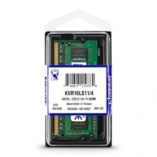 kingston memoria portatil 4gb module - ddr3l 1600mhz ddr3l, 1600mhz, non-ecc, cl11, 1.35v, unbuffered, sodimm kvr16ls11/4
